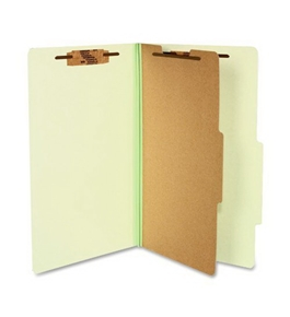 ACCO 16044 ACCO Pressboard 25-Point Classification Folders, Lgl, 4-Section, Leaf GN, 10/Box