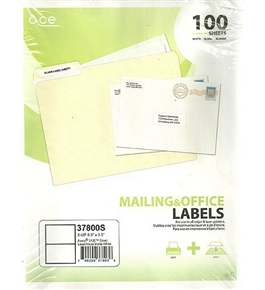 Ace Mailing & Office Labels 2-Up 37800S Avery 5126 Sized Laser/Inkjet Matte White 100 Sheets