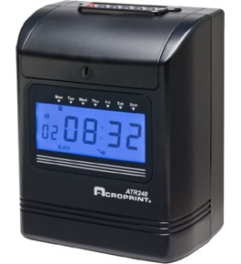 Acroprint ATR240 Electronic Top-Loading Time Recorder with Digital Display Time Clock