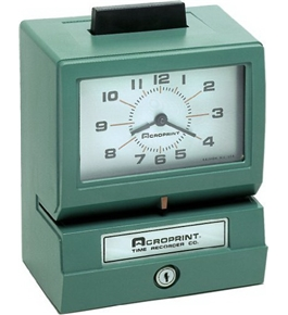 Acroprint BP125-6NR4 Heavy Duty Manual Battery Operated Time Recorder for Month, Date, Hour (1-12) and Minutes Time Clock
