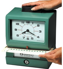 Acroprint BP125-R6AR3 Heavy Duty Manual Battery Operated Time Recorder for Day of the Week, Hour (1-12) and Minutes Time Clock
