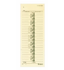 Adams Time Cards, Numbered Day Format, 3.4 x 9 Inches, Manila, 1-Sided, 200 Count (9656-200)