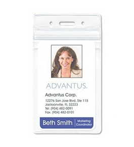 Advantus Resealable ID Badge Holders BADGE, CREDIT, BUSS, 50PK, CR (Pack of3)