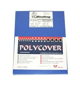 "Akiles Polycovers 16 MIL Thick, Blue Color (Size: 8.5"" X 11"" Emboss: LEATHER)"