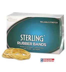 Alliance Sterling Ergonomically Correct Rubber Bands, #107, 0.625 x 7 Inches, 50 per 1lb Box (25075)