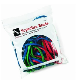 Alliance SuperSize Bands Resealable Bag Containing Eight Each 12 Inch Red, 14 Inch Green and 17 x 1/4 Inches Blue Heavy Duty Rubber Bands (8997)