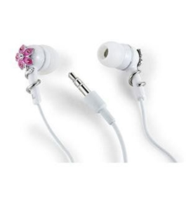 Altec Lansing MHP116NP Muzx Series In Ear Headphone with Pink Flower and Crystals