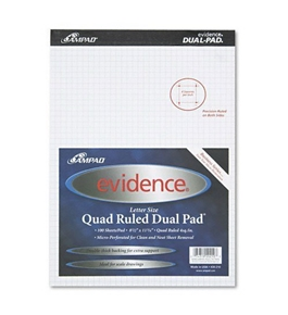 Ampad Evidence Quad Dual-Pad, Quadrille Rule, Letter Size (8.5 x 11.75), White, 100 Sheets per Pad (20-210)