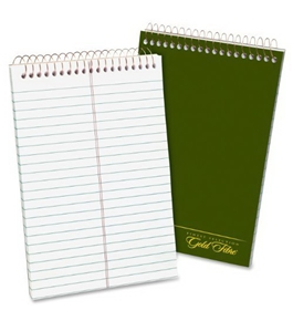 Ampad Gold Fibre Classic Steno Notebook, Green Cover, White Paper, 6 x 9, Gregg Rule, 100-Sheets, 1-Each
