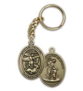 Antique Gold St. Michael the Archangel Keychain. Patron Saint of Police Officers & EMT's & Protection