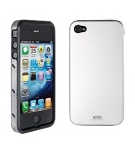 Artwizz Seejacket Alu for Iphone 4 / 4S -Silver-aluminium Cover with Silicone Inlay