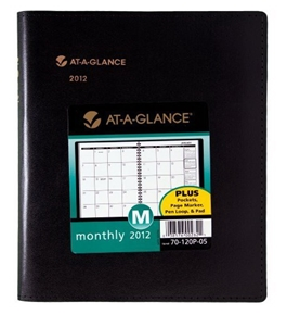 AT-A-GLANCE Plus Monthly Planner, 6 x 9 Inches, Black, 2012 (70-120P-05)