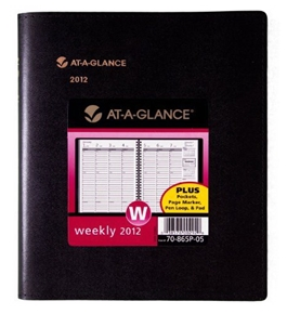 AT-A-GLANCE Plus Weekly Appointment Book, 6 x 9 Inches, Black, 2012 (70-865P-05)