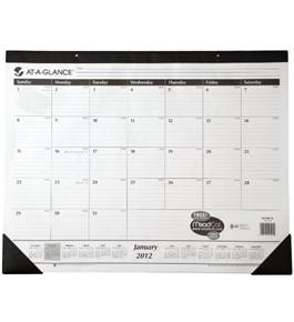 AT-A-GLANCE Recycled Desk Pad, 22 x 17 Inches, White, 2012 (SK24B-00)