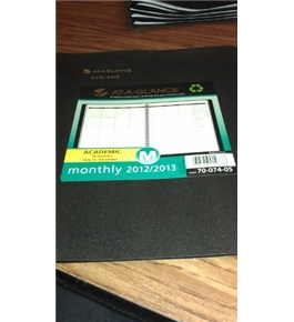 AT-A-GLANCE Recycled Monthly Planner, 9-Inch x 11-Inch, Black, 2012/2013 (70-074-05)