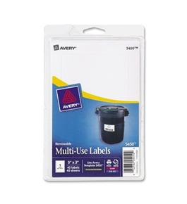 "Avery 5450 Removable Print or Write Labels, 3"" x 5"" - White (Pack of 40)"