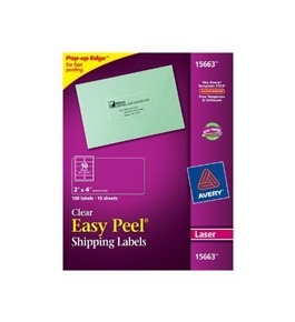 Avery Clear Easy Peel Shipping Labels for Laser Printers, 100 Labels (15663)