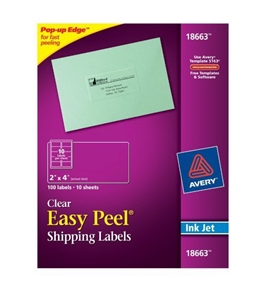 Avery Easy Peel Clear Shipping Labels for Inkjet Printers, 2 x 4-Inches, Pack of 100 (18663)