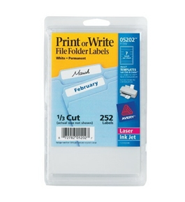 Avery File Folder Labels, Laser and Inkjet Printers, 1/3 Cut, White, Pack of 252 (05202)