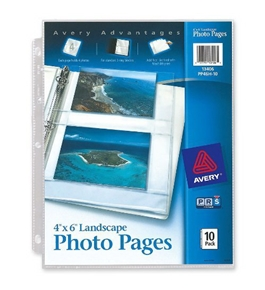 Avery Horizontal Photo Pages, Acid Free, 4 x 6 Inches, Pack of 10 (13406)
