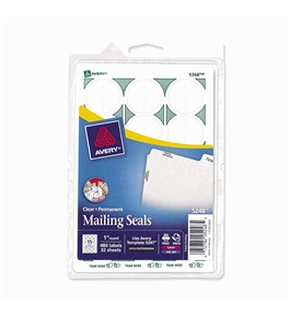Avery Mailing Seals, Clear, Permanent, 480 per Pack (05248)