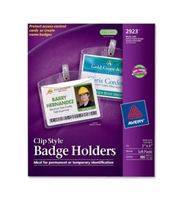 Avery Photo ID Badge Holders, 3 x 4 Inches, Box of 100 (2923)