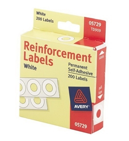 Avery(R) Self-Adhesive Reinforcements, White, Pack Of 200