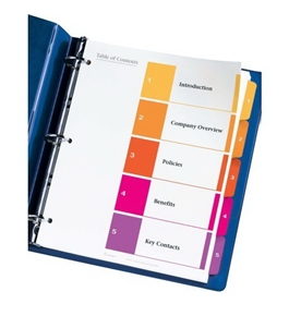 Avery Ready Index Multicolor Table of Contents Dividers, 24 Sets (11167)