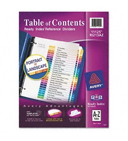 Avery Ready Index Table of Contents Dividers, 26-Tab, 1 Set (11125)