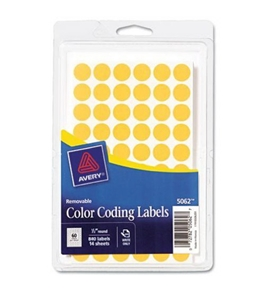 Avery Removable Color Coding Labels, 0.5 Inch, Round, Neon Orange, Pack of 840 (5062)