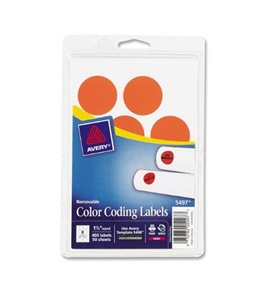 Avery Removable Print or Write Color Coding Labels for Laser Printers, 1.25 Inches, Round, Pack of 400