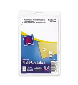 Avery Self-Adhesive Removable Labels, 1-Inch Diameter, White, 600 per Pack (05410)