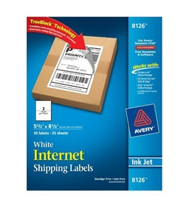 Avery Shipping Labels with TrueBlock Technology, Inkjet Printers, 5.5 x 8.5 Inches, White, Pack of 50