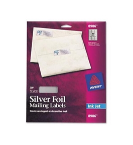 "Avery Silver Foil Mailing Labels for Inkjet Printers, 3/4"" x 2-1/4"", Pack of 300 (8986)"