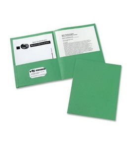 Avery Two-Pocket Portfolios, Embossed Paper, 30-Sheet Capacity, Green, Box of 25 (47987)