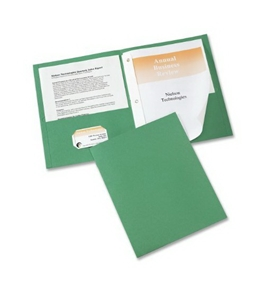 Avery Two-Pocket Report Covers with Prong Fasteners, 11 x 8.5 Inches, Green, Box of 25 (47977)