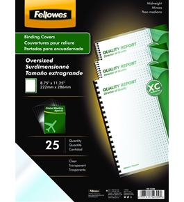 Fellowes Binding Presentation Covers, Oversize Letter, Clear, 25 Pack (52309)