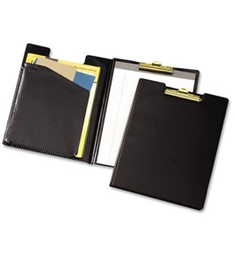 Cardinal Pad Holder, Leather-Like Vinyl, Brass-Finish Clip, Expanding Pocket File, Black  - 252610
