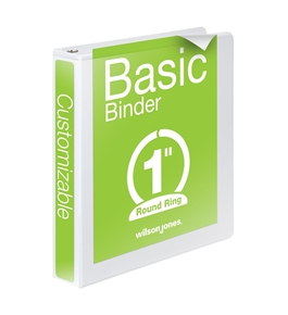 Wilson Jones Round Ring View Binder, 1 Inch, Basic, 362 Series, Customizable, White  - W362-14W