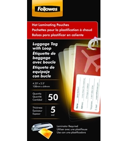 "Fellowes Laminating Pouches, Thermal, Luggage Tag with Loop 2 1/2"" - H x 4 1/4"" - W Size, 5 Mil, 50/Pack  - 52034"