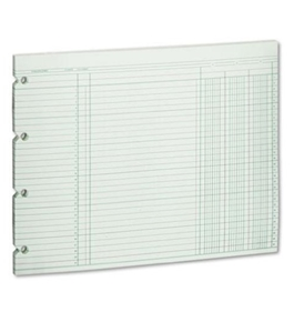 "Wilson Jones Green Columnar Sheets, Single Page Format, 3 Columns, 30 Lines Per Page, 11-7/8"" X 9-1/4"", 100/Pack, WG10-3A"