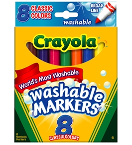 Crayola Broad Point Washable Markers, 8 Markers, Classic Colors - 58-7808