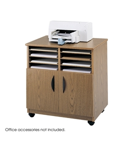 Mobile Machine Stand with Sorter Medium Oak