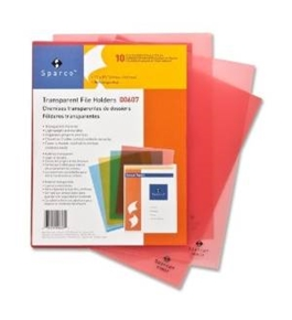 "Transparent File Holders, Water Resistant, 11""x8-1/2"", 10 per Pack, Red"