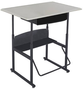 "Safco Stool for AlphaBetter Stand-Up Desk, 36"" x 24"" Standard Top with Book Box, Beige Top, Black Frame, 1207BE"