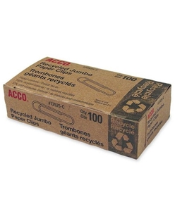 "Acco Brands, Inc. Recycled Paper Clips,No 4, 1-13/23"" Size,Jumbo,100/Box"