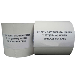"2 1/4"" X 165' Thermal Cash Register POS Receipt Paper 50 Rolls / Case"