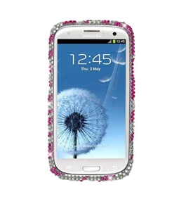 Eagle Cell PDSAMI9300S329 RingBling Brilliant Diamond Case for Samsung Galaxy S3 - Hot Pink Zebra