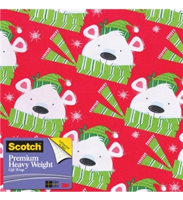 Scotch Gift Wrap, Winter Wishes Bear Pattern, 25-Square Feet, 30-Inch x 10-Feet (AM-WPWWB-12)