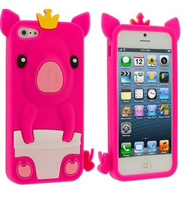 Leegoal(TM) Hot Pink Pig Silicone Rubber Gel Soft Skin Case Cover for Apple iPhone 5 5G 5th